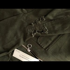 bagatelle Jackets & Coats - New Bagatelle Army Green Distressed Bomber Jacket